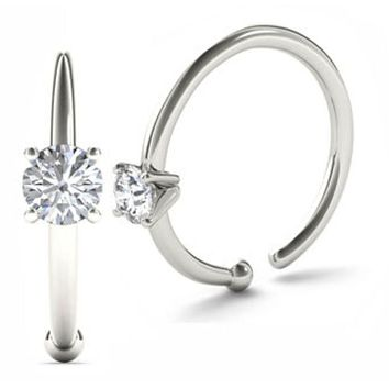 JewelMore 0.05ct Diamond Nose Ring Hoop - 14K White Gold or Yellow Gold