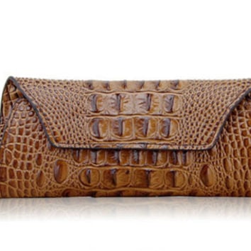 Alligator Printed Brown Leather Clutch. Brown Crocodile Leather Long Wallet. Ladies Leather Purse