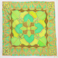"Hand Painted Silk Scarf. ""Forest Green."" 90x90cm. Green, Yellow, Brown. Original Design by Ma'at"