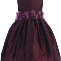 Purple Poly Silk Dress with Organza Flower Waist (Girls 2T to Size 8)