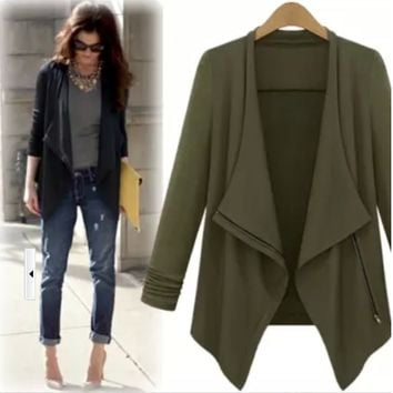 Long-Sleeve Lapel Asymmetrical Coat