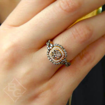 Le Vian® Chocolate and Vanilla Diamond® Cushion Shaped Pave Halo Ring