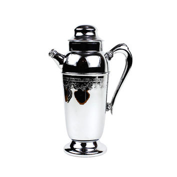 Vintage Chrome Cocktail Shaker, Engraved Grapevine Pattern, Handle & Spout