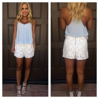 Emmie Rose Lace Shorts - White