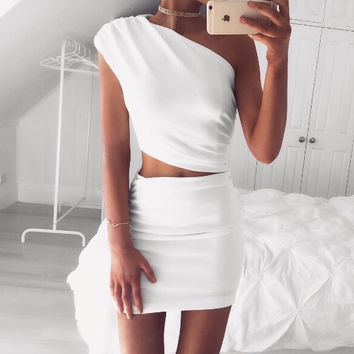 White Cherry Two-Piece Dress