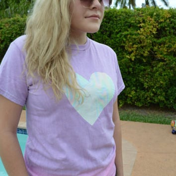 Holographic Heart On Tie Dye T-Shirt