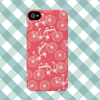 Red and White Bicycle Print iPhone Case