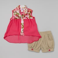 Hot Pink Floral Button-Up Tank & Tan Shorts - Toddler & Girls | something special every day