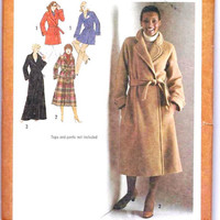 Vintage Wrap Coat Pattern: Size 10, Bust 32, Simplicity Sewing Pattern 9183