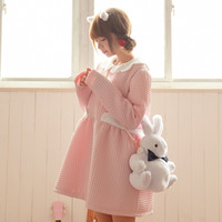 Cute Casual Fashion Style Dresses Long Sleeve Peter Pan Collar Small Fresh All Match Solid Above Knee Japanese