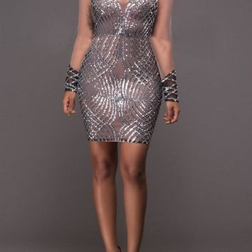 Streetstyle  Casual Silver Patchwork Grenadine Backless Bodycon Homecoming Mini Dress