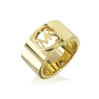 Michael Kors Designer Rings Golden Brass MK Logo Women's Ring