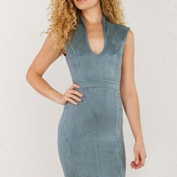 AKIRA Suede Midi Bodycon Dress in Teal and Purple