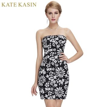 Kate Kasin Black Short Cocktail Dresses 2017 Summer Straight Knee Length Floral Print Prom Dress Robe de Cocktail Party Dress