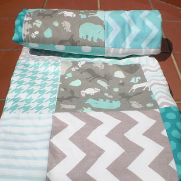 Baby quilt,Patchwork Baby blanket,baby boy bedding,baby girl quilt,woodland,rustic,grey,teal,chevron,dots,modern,deer,bear,fleece,baby quilt