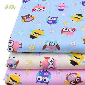 Chainho,New Owl Print Twill Cotton Fabric For DIY Quilting Sewing/Tissue Of Baby&Children/Sheet,Pillow,Cushion,Curtain Material