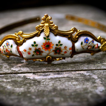 RARE! 1850s Antique FRENCH Porcelain Tiara hand-painted FLOWERS & leaves Gold Garland Crown May Queen Woodland Wedding Paris Bridal