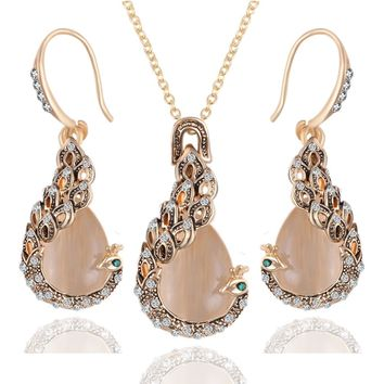 Rose Gold Color Filled Opal Vintage Peacock Jewelry Sets Peacocks Necklace Drop Earrings Jewellery Set For Women Gift joyeria