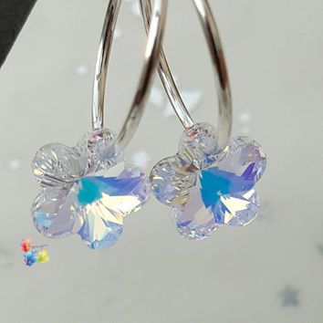 Clear Crystal AB Flower Earrings, Sterling Silver Earrings, Crystal Jewellery, Gift for Her, Flower, Crystal Earrings,  girlfriend