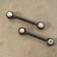 Black Nipple Bar Jewelry Barbell with AB Crystals