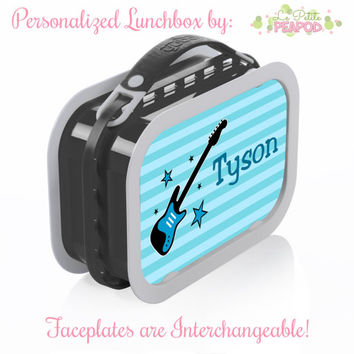 Rockstar Guitar Lunchbox - Personalized Lunchbox with Interchangeable Faceplates - Double-Sided Turquoise Rockstar Lunchbox