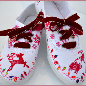 Custom Painted Christmas Shoes, Made to Order Xmas Shoes, Painted Xmas Shoes, Unique Xmas Shoes, Scandinavian Style Xmas Shoes, Size 9 Shoes
