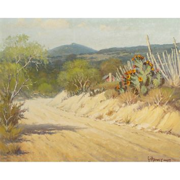 Art Print on Canvas, Oil Painting A5909 Texas Landscape Cactus Road Home Decor Wall Art Print Unframed