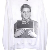 Elvis Presley Teenager Mug Shot Slouchy L/S Jumper