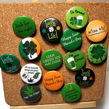 Any FIVE Pinback Buttons - Saint Patrick's Day  - Green