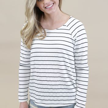 Cut Out Striped Tee, White/Black