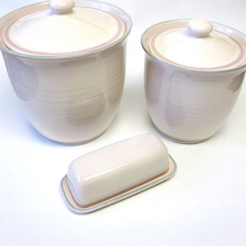 Pfaltzgraff  Aura Canisters Set Of Two Plus Butter Dish Keeper