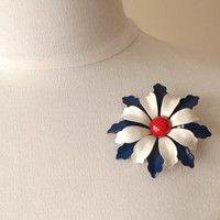 Enamel Brooch, Vintage Brooch, Enamel Flower Brooch, Lapel Pin, Flower Brooch,Red White & Blue Pin,Vintage Jewelry,Enamel Jewelry,Floral Pin