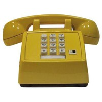 Pre-owned Professionally Painted Banana Yellow Desk Phone.