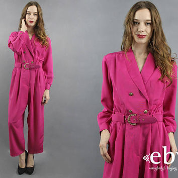 80s Jumpsuit 1980s Jumpsuit Pink Jumpsuit Magenta Jumpsuit Tuxedo Jumpsuit Belted Jumpsuit Crossover Jumpsuit 1980s Clothing 80s Clothing M