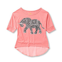 Copper Key 7-16 Elephant Printed Hi-Low Top - Coral