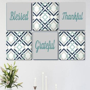Blessed Thankful Grateful Grey Blue White Wall Art Pack of 6 Canvas Wall Hangings. Dining Room Decor. Kitchen Decor. Dining. Home Decor.