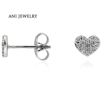 14KT White Gold 0.14 CT Certified I/S2 Natural Diamond Shiny Heart Shape Stud Earrings