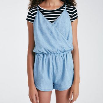 Chambray Surplice Romper | Wet Seal
