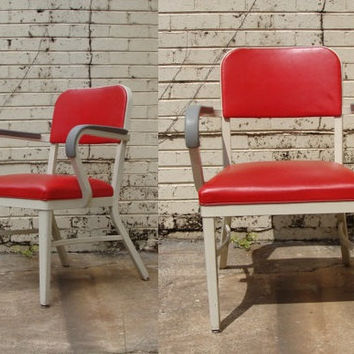 Mid Century Royalmetal Red Vinyl Office Chair, Vintage MCM Modern Seating, Royal Metal, Industrial