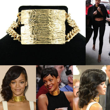 Choker Double ID Necklace Rihanna Metal Pattern Necklace
