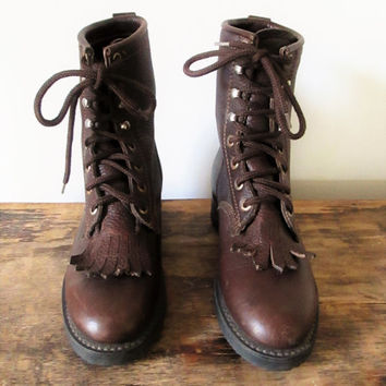Vintage 1990s Harley Davidson Brown Leather Motorcycle Boots Sz 7