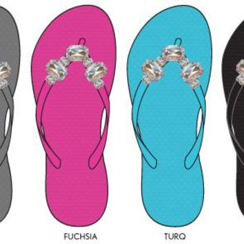 women's solid flip flops with rhinestone embellishments Case of 36