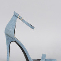 Women's Minimalist Denim Open Toe Heel