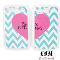 BEST BITCHES tiffany blue CHEVRON samsung galaxy s3 hard plastic case one for you one for your best friend super trendy