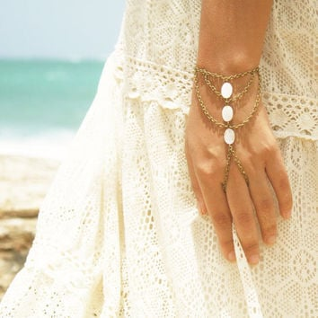 Slave Bracelet Hand Bracelet  Hipster Bronze Chain Bohemian  Mother of Pearl Beads Triangle Hand Jewelry Bridal Piece