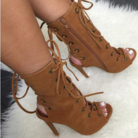 Fallon Lace-up Booties Chestnut
