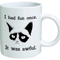 "Grumpy cat ""I had fun once, it was awful"" - 11 OZ Coffee Mug - Funny Inspirational and sarcasm - By A Mug To Keep TM"