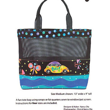 Beach Bag Pattern, Tote Bag, Screen Play by Nancy Ota Designs