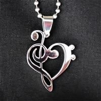 Music Pendant Treble Heart Clef Charm necklace - stainless steel silver w/ chain