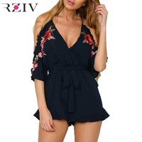 RZIV 2016 spring jumpsuit women fashion off shoulder sexy jumpsuit hanging neck rompers womens jumpsuit embroidery women clothes